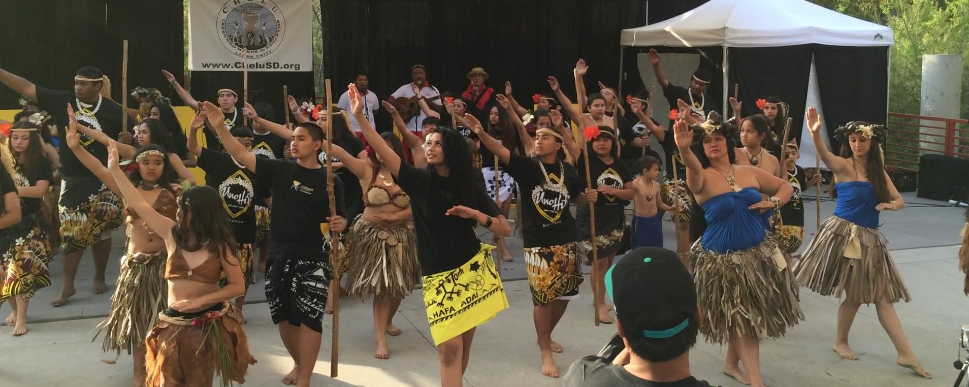 Chamorro dance groups come together to perform as one as the finale for the launch of the Guam Chamorro Dance Academy in San Diego
