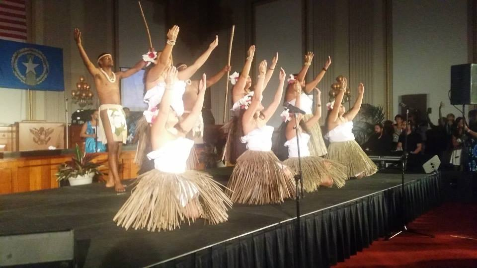 Uno Hit dancers accompany Kutturan Chamoru for a performance at the Guam Liberation reception on Capitol Hill in Washington DC, July 2014.